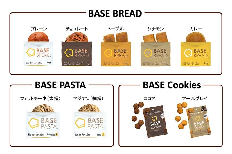 ベースフード(BASE FOOD)の商品のラインナップは「パン」「パスタ」「クッキー」の3種類