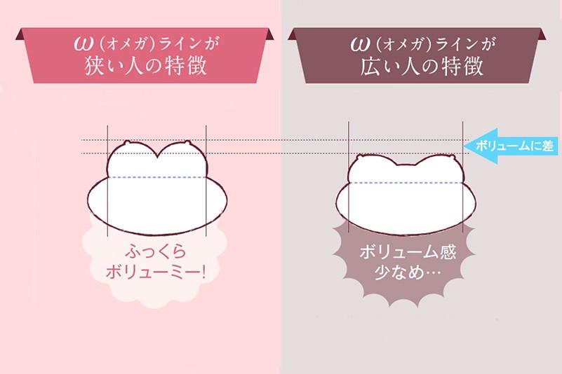 オメガラインが狭い人と広い人ではボリュームに差が