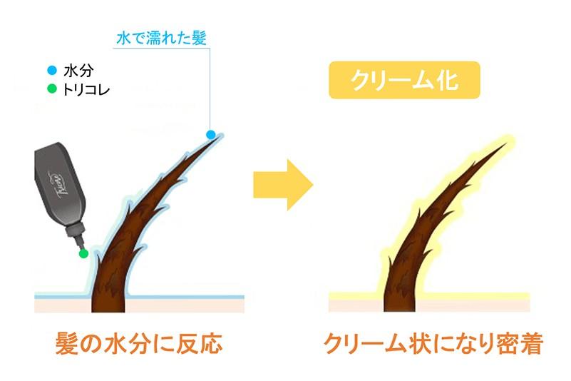 トリコレ(Tricore)温感ヘッドスパトリートメントの特徴:生トリートメントは液体が髪1本1本に行き届きやすい