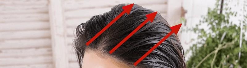 トリコレ(Tricore)温感ヘッドスパトリートメントの使い方:②少し上を向いて前髪の生え際から塗っていく